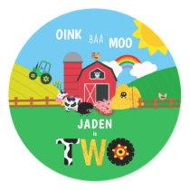 2nd Birthday Farm Barn Animals Oink Baa Moo Classic Round Sticker