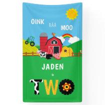 2nd Birthday Farm Barn Animals Oink Baa Moo Cute Banner