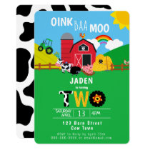 2nd Birthday Farm Barn Animals Oink Baa Moo Cute Invitation