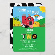 2nd Birthday Farm Barn Animals Oink Baa Moo Cute Invitation