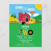 2nd Birthday Farm Barn Animals Oink Baa Moo Cute Invitation Postcard