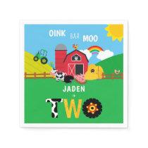 2nd Birthday Farm Barn Animals Oink Baa Moo Napkins