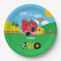 2nd Birthday Farm Barn Animals Oink Baa Moo Paper Plate