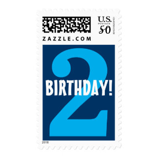 2nd Birthday for Boy Big Bold Blue Number Postage