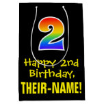 "[ Thumbnail: 2nd Birthday: Fun, Bold, Colorful, Rainbow ""2"" Gift Bag ]"