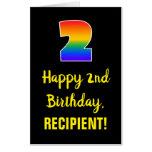 [ Thumbnail: 2nd Birthday: Fun, Colorful, Happy, Rainbow # 2 Card ]