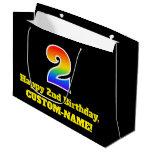 [ Thumbnail: 2nd Birthday ~ Fun, Colorful, Vibrant, Rainbow 2 Gift Bag ]