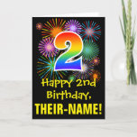 [ Thumbnail: 2nd Birthday: Fun Fireworks Pattern + Rainbow 2 Card ]