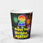 [ Thumbnail: 2nd Birthday: Fun Fireworks Pattern + Rainbow 2 ]