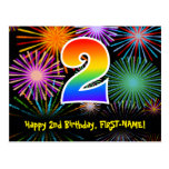 [ Thumbnail: 2nd Birthday – Fun Fireworks Pattern + Rainbow 2 Postcard ]