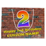 [ Thumbnail: 2nd Birthday: Fun, Graffiti-Inspired Rainbow # 2 Gift Bag ]