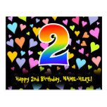 [ Thumbnail: 2nd Birthday: Fun Hearts Pattern, Rainbow 2 Postcard ]