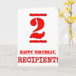 [ Thumbnail: 2nd Birthday: Fun, Red Rubber Stamp Inspired Look Card ]