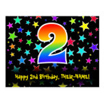 [ Thumbnail: 2nd Birthday: Fun Stars Pattern, Rainbow 2, Name Postcard ]