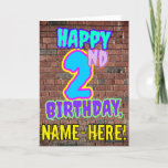 [ Thumbnail: 2nd Birthday - Fun, Urban Graffiti Inspired Look Card ]
