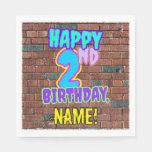 [ Thumbnail: 2nd Birthday ~ Fun, Urban Graffiti Inspired Look Napkins ]
