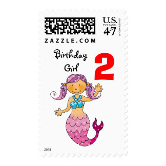 2nd birthday gift for a girl, cute mermaid postage