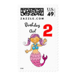 2nd birthday gift for a girl, cute mermaid postage stamps