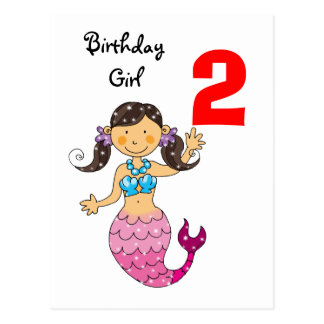 2nd birthday gift for a girl, cute mermaid postcard