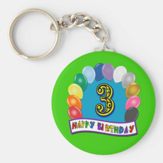 2nd Birthday Gifts with Assorted Balloons Design Keychain