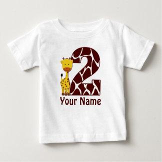 2nd Birthday Giraffe Personalized Shirt