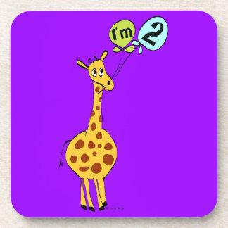 2nd Birthday Giraffe with Balloons Beverage Coaster