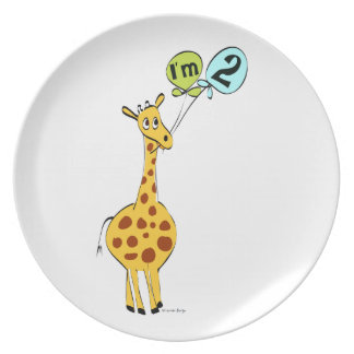 2nd Birthday Giraffe with Balloons Dinner Plate