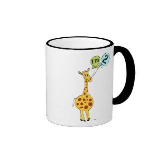 2nd Birthday Giraffe with Balloons Ringer Coffee Mug