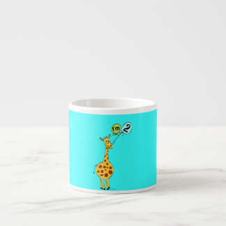 2nd Birthday Giraffe with Balloons 6 Oz Ceramic Espresso Cup