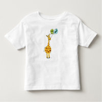 2nd Birthday Giraffe with Balloons Toddler T-shirt