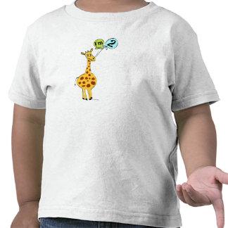 2nd Birthday Giraffe with Balloons Shirts