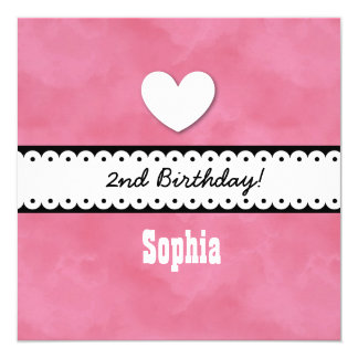 2nd Birthday Girl Heart and Scalloped Ribbon A07Z Card