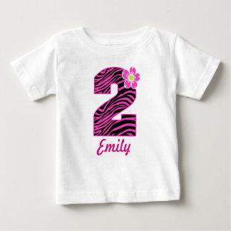 2nd Birthday Girl Hot Pink & Black Zebra Infant T-shirt