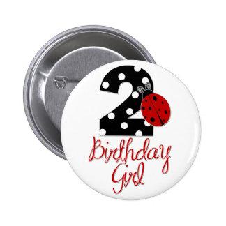 2nd Birthday Girl - Ladybug - 2 Lady Bug Button