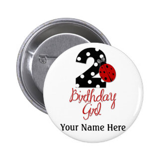 2nd Birthday Girl - Ladybug - 2 Lady Bug Pinback Button
