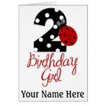 2nd Birthday Girl - Ladybug - 2 Lady Bug Greeting Card