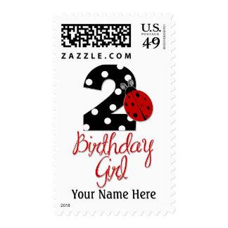 2nd Birthday Girl - Ladybug - 2 Lady Bug Postage