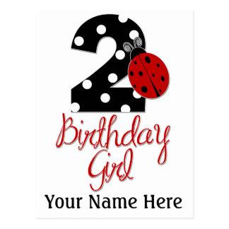 2nd Birthday Girl - Ladybug - 2 Lady Bug Postcard