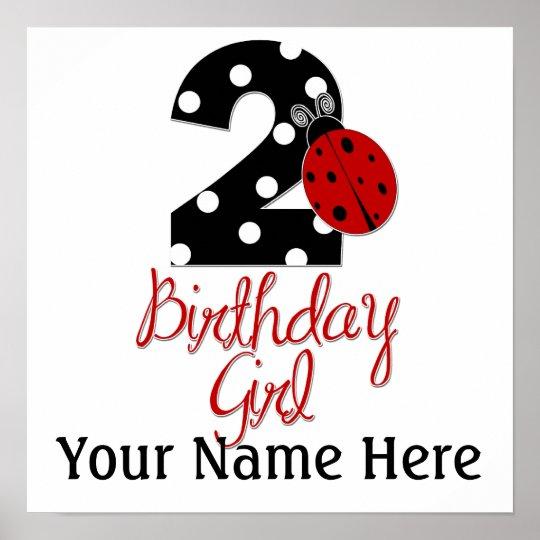 2nd Birthday Girl - Ladybug - 2 Lady Bug Poster