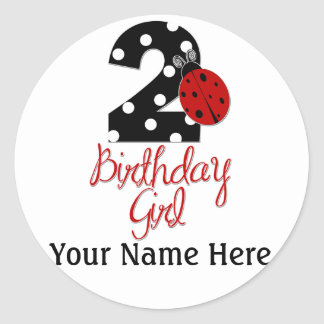 2nd Birthday Girl - Ladybug - 2 Lady Bug Round Sticker