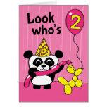 2nd Birthday - Girl Panda with Balloons Greeting Card