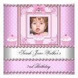 2nd Birthday Girl Pink Cupcakes White Pearl Photo Custom Invitations