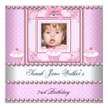 2nd Birthday Girl Pink Cupcakes White Pearl Photo Custom Invitations