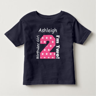 2nd Birthday Girl STARS Custom Name V15 Toddler T-shirt