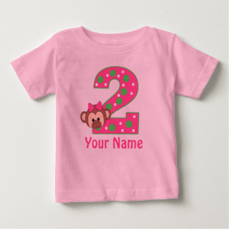 2nd Birthday Girls Monkey Personalized Shirt