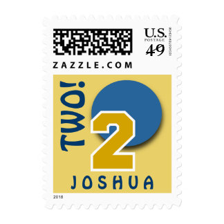 2nd Birthday GOLD Big Number and BLUE Circle C02 Stamp
