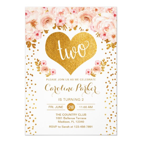 2nd Birthday Gold Heart White Pink Floral Invitation