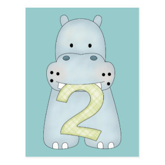 2nd Birthday Hippo Postcard