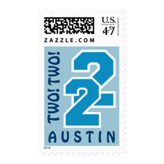 2nd Birthday HUES of BLUE Sports Numbers C12 Postage