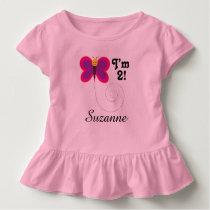 2nd Birthday I'm 2 Butterfly Girls T-shirt